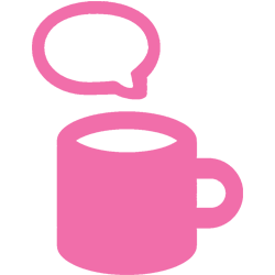 Pink cup icon with a speech bubble above.