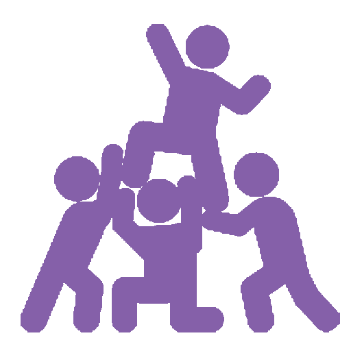 Purple icon of four stick men helping each other.