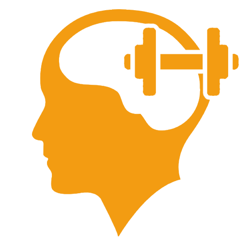 Yellow icon of a profile of a head with a silhouette of weights.