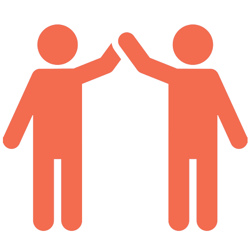 Orange icon of two stick figures high fiving.
