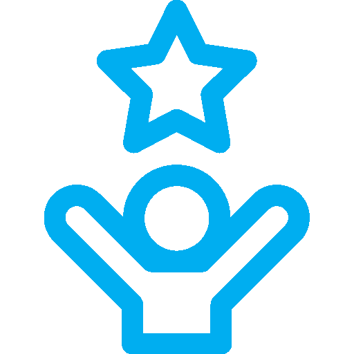 Blue icon of a person with their arms in the air and a star above them.