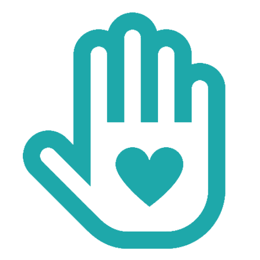 Green icon of a hand with a heart in the centre.