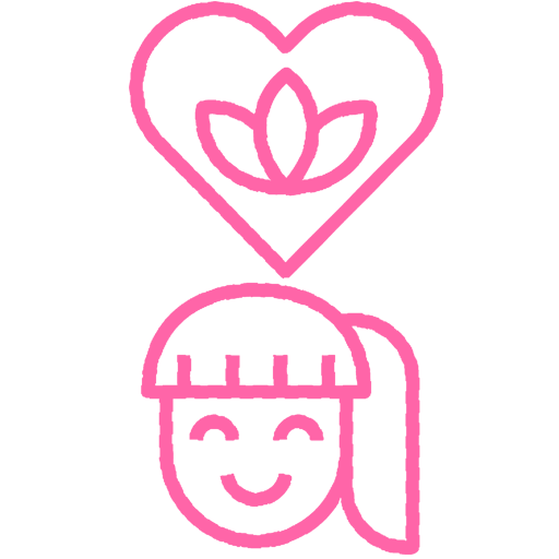 Pink icon of a smiling face with a heart shape above their head.